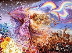 """La stessa corrente di vita che scorre nelle mie vene, notte e giorno scorre per il mondo e danza in ritmica misura. E' la stessa vita che germoglia gioiosa attraverso la polvere negli infiniti fili dell'erba e prorompe in onde tumultuose di foglie e di fiori. (Rabindranath Tagore)  """"Dipinto di: Josephine Wall (fantasia)"""""""