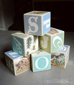 Baby Boy Blocks - Set of 6 Custom Made Wood Blocks - Personalized Name - Monogram Birthday - Handmade - ABC Alphabet - Vintage