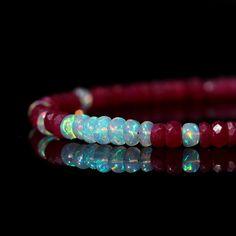 Genuine Ruby and Opal Bracelet Natural AAA Ethiopian Opal &