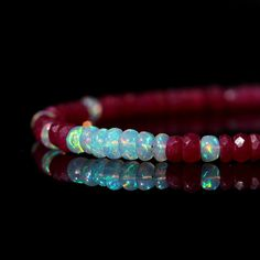 $108.00Genuine Ruby and Opal Bracelet, Natural AAA Ethiopian Opal & Red Ruby Jewelry, Sterling Silver Clasp, July October Birthstone, Gift for Her