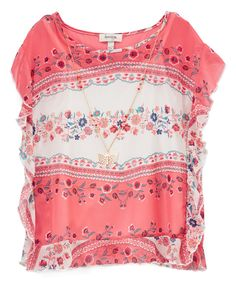 Take a look at this Coral Floral Ruffle Top & Butterfly Pendant Necklace - Girls today!