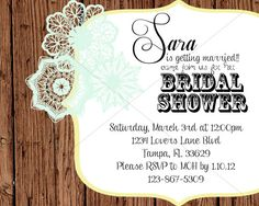 Feminine Lace with Wood Accents Shower Invitation by JulsNewbrough, $20.00