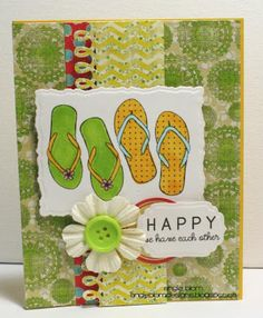 {flip flop happy} stamp of the week from unity stamp company - card created by Unity Design Team Member - Angie Blom