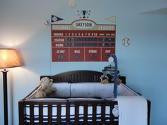 - Sports themed nursery featuring the baseball scoreboard by Aaron Christensen Nursery design by Pretty Little Styles - Original source link provided.