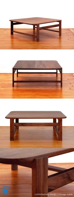 A contemporary Coffee Table that appears to be two different designs on each of its sides. Crafted from solid, American walnut with a hand-rubbed, Danish oil and wax finish.