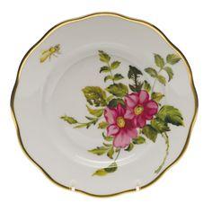 Herend American Wildflowers Prairie Rose Salad Plate