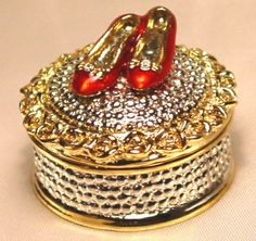 Crystal Red Glazed Shoe Trinket Jewelry Ring Box