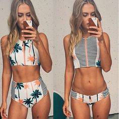 Cheap biquini up, Buy Quality biquini woman directly from China biquini sexy Suppliers: 2017 Push up Swimsuit Brazilian Sexy Women Padded Bra Coconut Tree Print Bikini Set Swimsuit Swimwear Bathing Set Femme Biquinis High Neck Bikini Set, The Bikini, Sexy Bikini, Crop Top Bikini, Bikini Beach, Bikini 2017, Bikini Babes, Women Bikini, Sexy Women