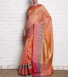 Peach Cotton Silk Handloom Banarasi Saree
