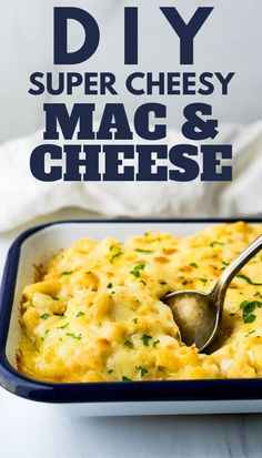 Here's a quick and easy homemade 3 cheese mac and cheese recipe that's creamy, cheesy and makes the best Southern baked casserole. With white cheddar, jarlsberg and parmesan in a rich cream sauce this simple side dish is the Ultimate DIY. #bakedmacandcheese #southernmacandcheese Southern Mac And Cheese, Cheesy Mac And Cheese, Yummy Pasta Recipes, Cheese Recipes, Healthy Recipes, Pasta Dishes, Food Dishes, Ultimate Mac And Cheese, Best Side Dishes