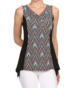 This Blue & Black Geometric Sleeveless Top by One Fashion is perfect! #zulilyfinds