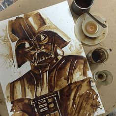 Never underestimate the power of the dark...roast :p A very caffeinated Darth Vader after he enjoyed a Greek Coffee and and Italian espresso:) #darthvader #starwars #starwarsart #coffee #coldbrew #coffeeart #coffeelovers #coffeeonthego #coffeepainting #ma_aris #mariaaaristidou #greekcoffee #thedarkside #theforce #maythefourthsoa