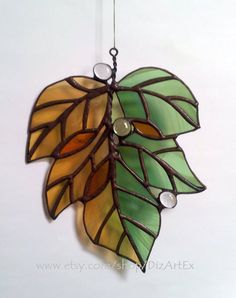 """Stained Glass Pendant """"September"""". Autumn, leaves. Handmade. Home decor.  DizArtEx. Made to order. by DizArtEx on Etsy (null)"""