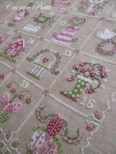 hart to hart epiphany or spring coming shabby spring calendar - PIPicStats Crewel Embroidery, Ribbon Embroidery, Cross Stitch Embroidery, Cross Stitch Patterns, Embroidery Designs, Cross Stitch House, Just Cross Stitch, Shabby, Dmc