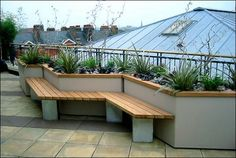 Nice built in planters on the rooftop deck