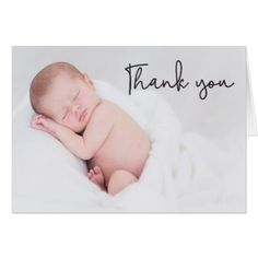 Thank You and Baby Birth Announcement Modern Card - baby gifts child new born gift idea diy cyo special unique design