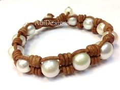 SALE  Leather and Pearl Bracelet  Pearl of Wisdom 3 by AdiDesigns, $49.00