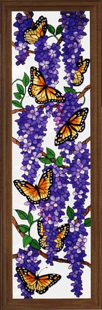 STAINED GLASS MONARCH BUTTERFLIES AND WISTERIA