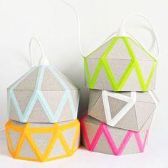 candeeiros de cartao personalizados com washi tape