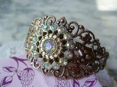 Aurora Borealis Bohemian Style Pin Wheel Cuff by DLAbeaddesign, $18.00