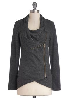 Airport Greeting Cardigan in Charcoal - Grey, Solid, Casual, Long Sleeve, Exposed zipper, Travel, Jersey, Basic, Best Seller, Fall, Knit, Wi...
