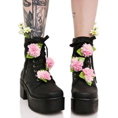 Sugarbaby Grunge Petals Boots (£74) ❤ liked on Polyvore featuring shoes, boots, flower boots, blossom boots, chunky-heel boots, platform boots and dressy boots