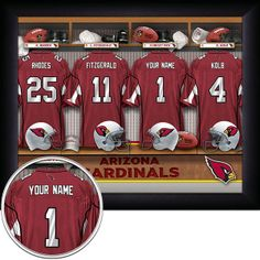 Arizona Cardinals NFL Football - Personalized Locker Room Print / Picture. Have you or someone you know ever dreamed about playing next to your favorite Arizona Cardinals players. You or someone you know can be right there in the locker room with Arizona Cardinals players! Optional framing with mat is available. Perfect for gifts, rec room, man cave, office, child's room, etc.   (http://www.oakhousesportsprints.com/arizona-cardinals-locker-room-print/)