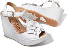 Born Womens Azalea in Bianco on bornshoes.com - I might feel silly wearing them, but I like the flowers-on-shoes trend.