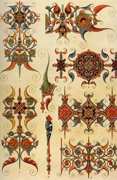 Middle-Ages pattern from L& Polychrome by Albert Racinet Digitally enhanced from our own original 1888 edition. Free Illustrations, Illustration Art, Pattern Art, Pattern Design, Egyptian Art, Illuminated Manuscript, Islamic Art, Middle Ages, Vintage Images