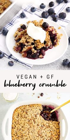 A delicious and easy blueberry crumble that can be made with frozen or fresh blueberries. Added bonus, it's vegan, gluten-free and sweetened only with maple syrup! # Food and Drink videos recipes Easy Healthy Blueberry Crumble Healthy Sweets, Healthy Baking, Healthy Snacks, Healthy Recipes, Healthy Blueberry Desserts, Healthy Blueberry Crisp, Vegan Blueberry Muffins, Vegan Baking Recipes, Gluten Free Blueberry
