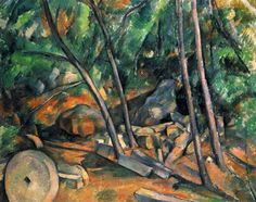 Woods with Millstone, 1894 by Paul Cezanne, Final period. Post-Impressionism. landscape