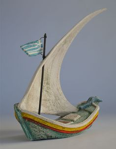 Ceramic ships inspired by Greek ship building tradition and history of navigation at Aegean sea or other parts of the world / Christos Giannakopoulos Slab Pottery, Ceramic Pottery, Ceramic Art, Sculpture Clay, Bronze Sculpture, Boat Art, Ceramic Houses, Antony Gormley, Clay Crafts