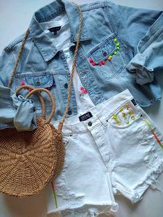 600625087a455d Białe postrzępione spodenki szorty jeansowe wysoki stan L ręcznie haftowane  denim DIY unikat