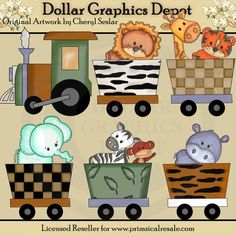 Zoo Train Clip Art Set, by Cheryl Seslar - $1.00 : Great for printable crafts, scrapbooking, auction templates, web graphics, and more! www.DollarGraphicsDepot.com
