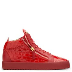 Giuseppe Zanotti Kriss high-top sneakers in red crocodile embossed leather 595 EUR.