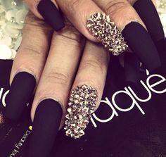 Black matte nails. Bling
