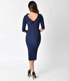 Unique Vintage 1960s Navy Blue Stretch Sleeved Lucinda Wiggle Dress
