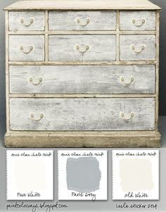 COLORWAYS Simple pine cupboard painted with Annie Sloan Chalk Paint® in a Swedish country style. Pure White, Paris Grey, Old White