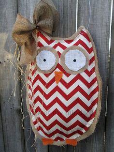 Owl Burlap Door Hanger Door Decoration Mixed Media Chevron Pattern. $28.00, via | http://stuffedanimalsfamily.blogspot.com