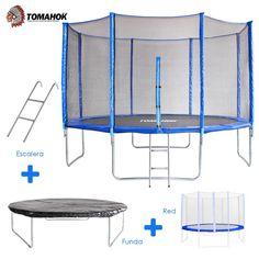 Cama elástica de la marca Tomahok importada de USA. con un diámetro interior de 3,30 m y peso máximo de 125 Kg, ofrece un gran espacio para saltar libremente.
