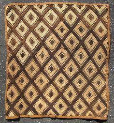 Vintage African raffia cloth Kuba People Shoowa Kasai velvet Congo 23x21in #1622