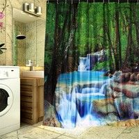 Wish | 180 X 200 CM Bathroom Shower Curtain Waterfalls Nature Scenery Art Waterproof Mouldproof Curtain With 12Pcs Hooks