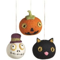 Halloween Icon Ornaments Item #279076 Features pumpkin with face  b...