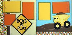 Boys at play scrapbook layout Cricut
