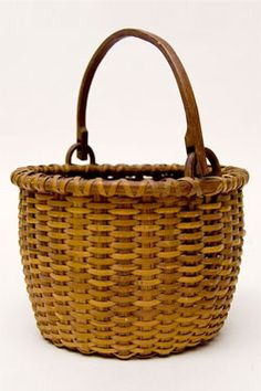 Antique Country Primitive Miniature Basket New York Rhode Island Shaker Taconic 19th Century Swing Handled Basket Early Swing Handle Basket