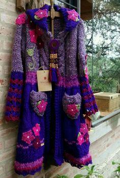 Crochet Coat, Form Crochet, Crochet Cardigan, Crochet Clothes, Hippie Outfits, Crochet Fashion, Beautiful Crochet, Coats For Women, Mantel