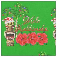 Santa Claus Tiki Mele Kalikimaka Fabric - christmas craft supplies cyo merry xmas santa claus family holidays