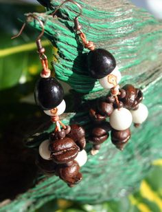 Coffee bean coconut and acai seed earrings by lovingElida on Etsy, $7.00