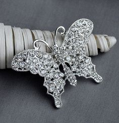 Rhinestone Brooch Component Crystal Butterfly Embellishment Wedding Broach Bouquet Cake Hair Comb Shoe Clip Decoration BR199 via Etsy
