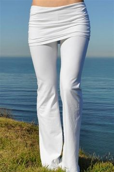 Pranayama Gathered Waist Fold-over Womens White Yoga Pants by Jala
